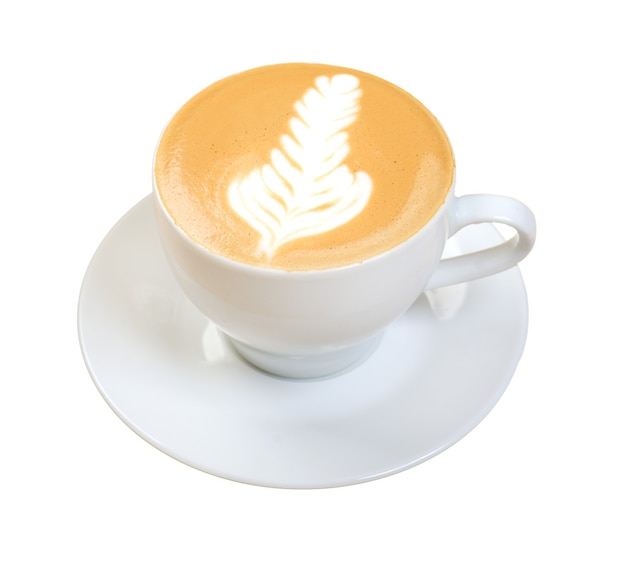 카푸치노 컵.커피 . 흰색 배경에 고립.