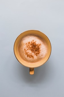 Cappuccino in a cup with chocolate powder on white background