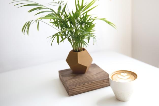 흰색 테이블 배경에 있는 냄비에 열대 식물과 함께 아름다운 라떼 아트를 넣은 카푸치노. 아침에 완벽한 아침 식사.