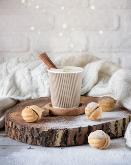 Cappuccino with cinnamon in a cup