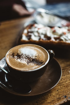 Cappuccino with waffle
