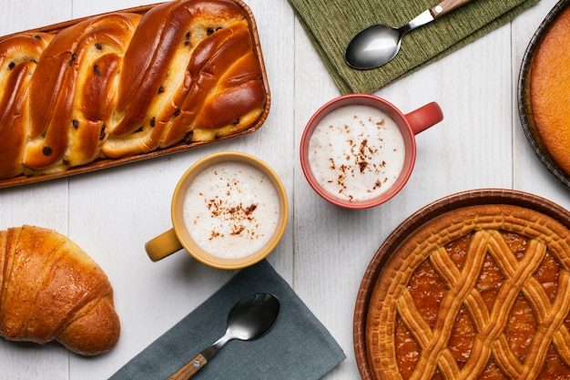 Cappucinos with pastry assortment