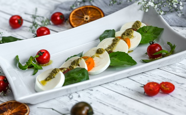 Caprice salad with mozzarella and cherry tomatoes