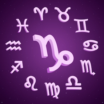 3dの周りのすべての兆候と山羊座の星座
