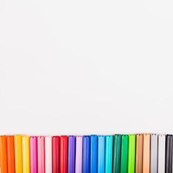 Caps of colored felt-tip pens