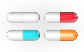 Capsule pill 4 color white red orange and bule 3d rendering background