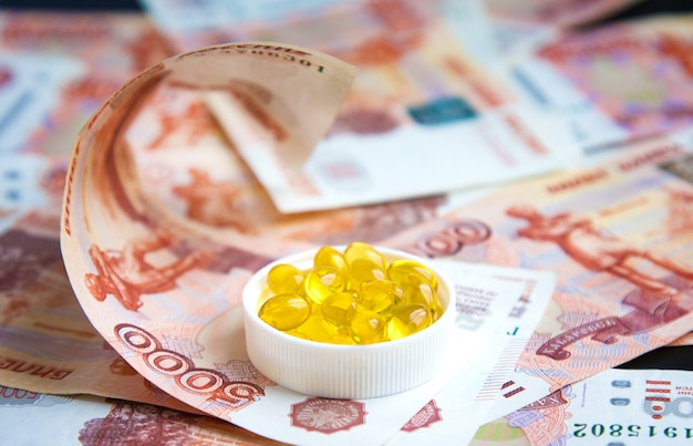 Capsules of fish oil and russian rubles