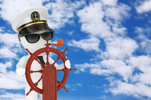 푸른 하늘 흐린 배경에 스탠드가 있는 빈티지 목조 선박 스티어링 휠 근처에 담배 파이프와 선글라스가 있는 해군 함선 캡틴 모자의 캡틴 만화 캐릭터. 3d 렌더링