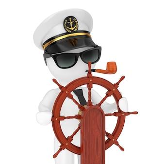 흰색 배경에 스탠드가 있는 빈티지 나무 배 스티어링 휠 근처에 담배 파이프와 선글라스가 있는 해군 함선 캡틴 모자의 캡틴 만화 캐릭터. 3d 렌더링