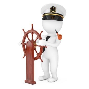 흰색 배경에 스탠드와 함께 pipenear 빈티지 나무 배 스티어링 휠 흡연과 해군 선박 캡틴 모자에 캡틴 만화 캐릭터. 3d 렌더링