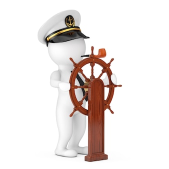 Captain cartoon character in navy ship captain hat with smoking pipenear vintage wooden ship steering wheel with stand on a white background. 3d rendering