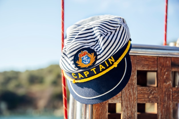 Captain hat on the sailboat