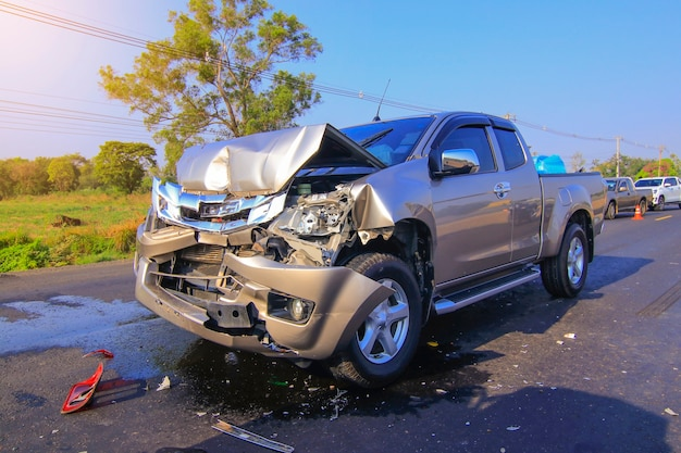 Car accident front of car get damaged by accident on the road
