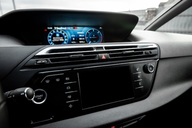 Car air conditioning panel on the luxury car console