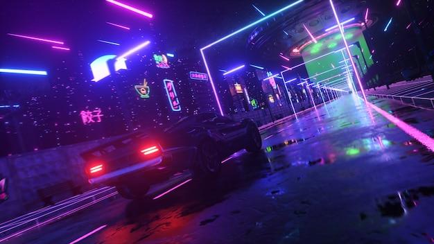 ネオンスタイルの車と街。 80年代のレトロな波の背景3dイラスト。レトロな未来的な車がネオンの街をドライブします。