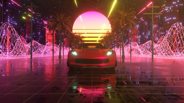 네온 스타일의 자동차와 도시. 80 년대 레트로 웨이브 배경 3d 그림입니다. 네온 도시를 통해 복고풍 미래 자동차 드라이브.