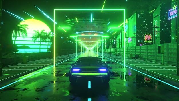 ネオンスタイルの車と街。 80年代のレトロな波の背景。レトロな未来的な車がネオンの街をドライブします。 3dイラスト