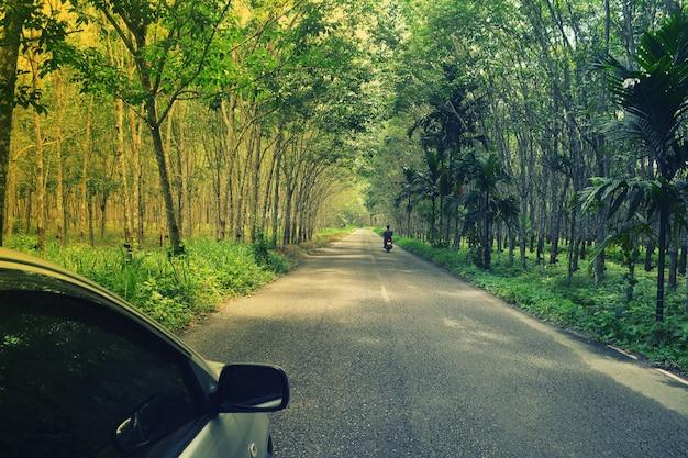 緑のゴム製プランテーション経路での車とバイクの旅行