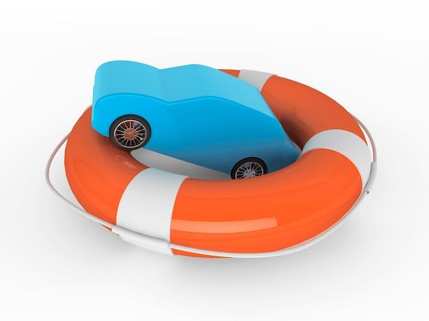 車の援助の概念。白い背景の上の抽象的な車と救命浮環