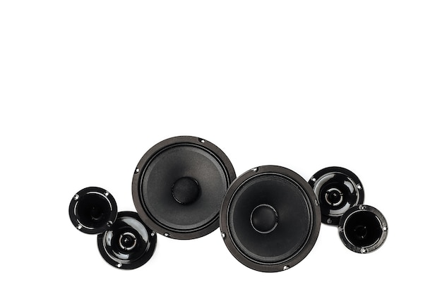 Car audio, car speakers on a white background.