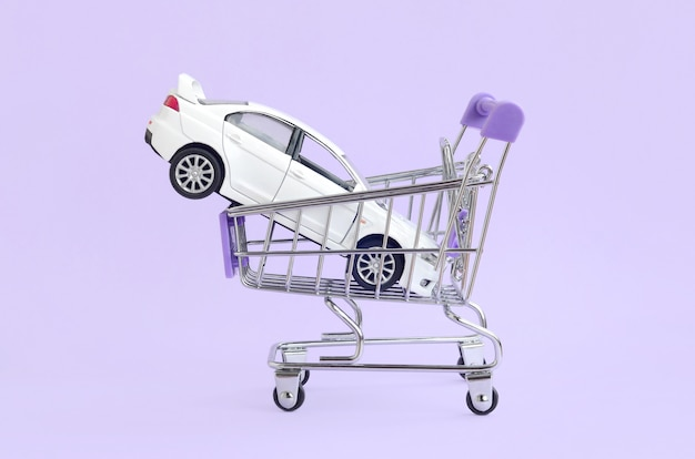 Car buying and leasing concept. vehicle in shopping cart
