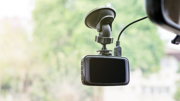 Car camera installed on a windshield.