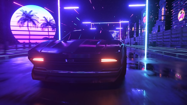 Car and city in neon cyberpunk style. 80s retrowave background 3d illustration. retro futuristic car drive through neon city.