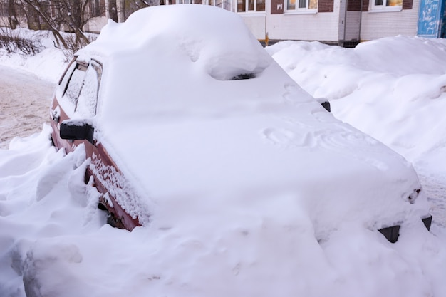 새하얀 눈으로 덮인 자동차, 눈보라 이후 눈으로 덮인 자동차