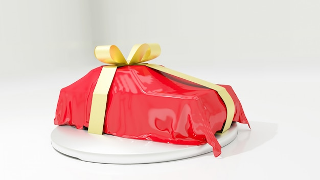 Car covered with red silk with gold bow ribbon isolated on white