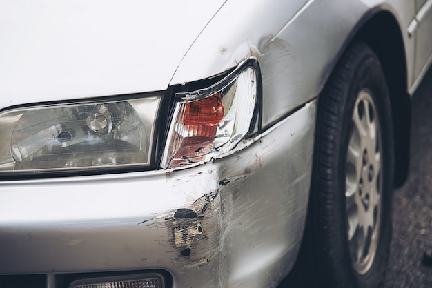 Car damage on road accident, car insurance