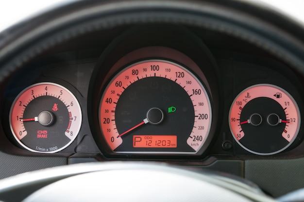 Car dashboard close-up.