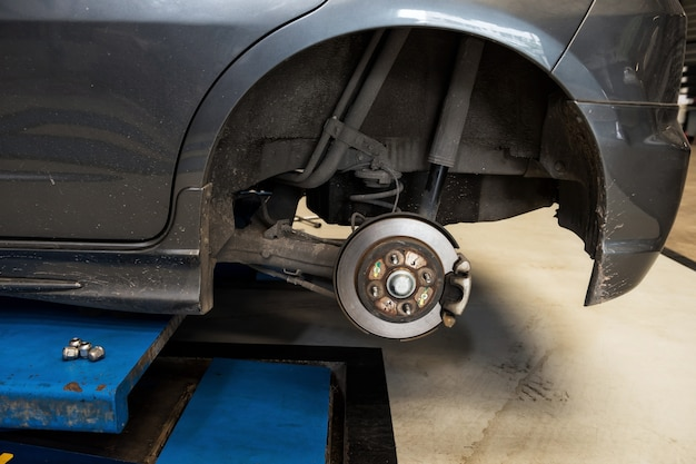 Car disc brake to repair in garage