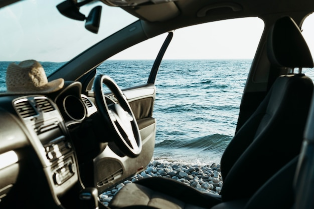 Car door open by sea