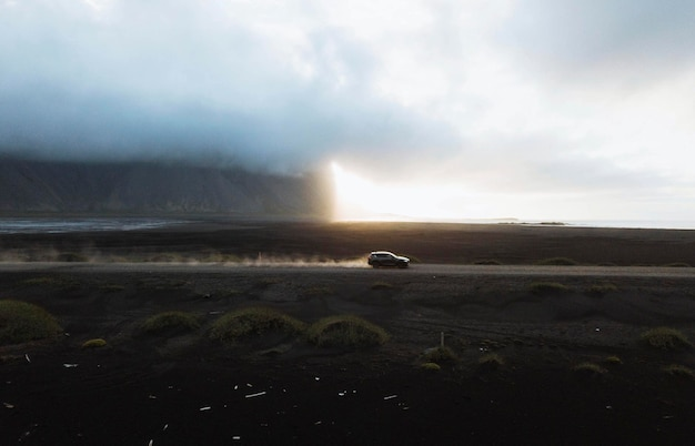 Car drive on the stokksnes peninsula in southeast iceland