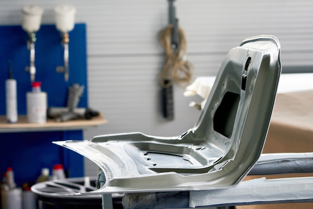 Car element body after painting. drying parts of the automobile