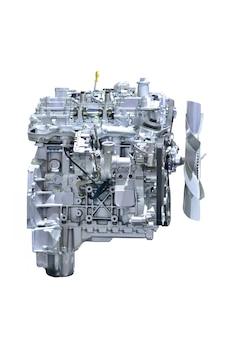 자동차 엔진. 흰색 배경에 고립 된 현대 자동차 엔진의 개념입니다.