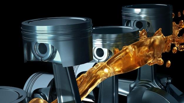 Автомобильный двигатель со смазочным маслом на ремонте