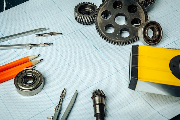 Car engineering tools top view on graph paper