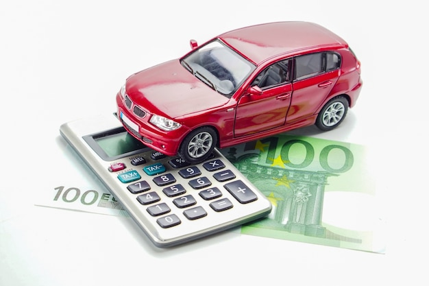 Car on euro banknote, : car loan, insurance and leasing time concepts.