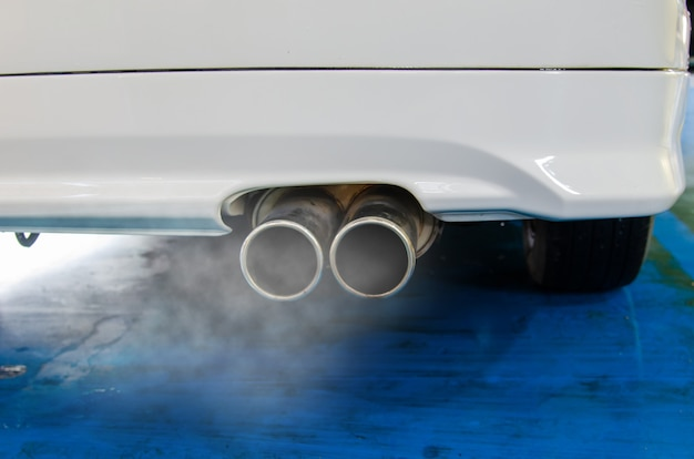 Car exhaust smoke