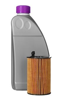 車のフィルターとモーターオイルは白で隔離することができます、クローズアップ。
