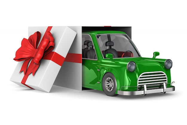 Car in gift packing on white space