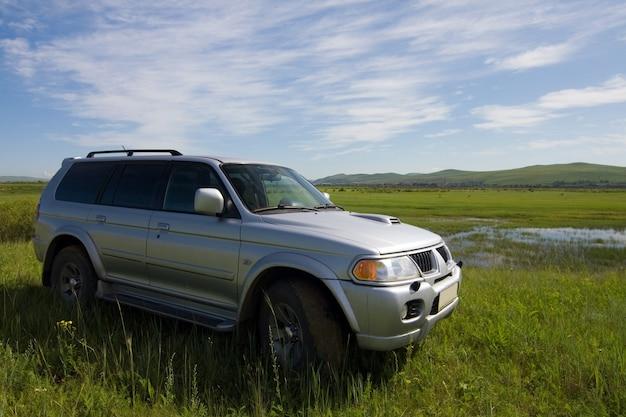화창한 날 풀밭에 있는 자동차