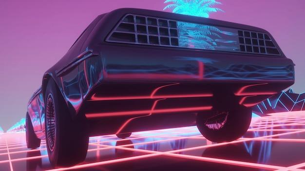 ネオンサイバーパンクスタイルの車。 80年代のレトロウェーブの背景。レトロな未来的な車がネオンの街をドライブします。 3dレンダリング。