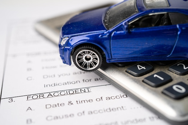 Car on insurance claim accident form