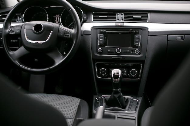 Car interior and dashboard close up
