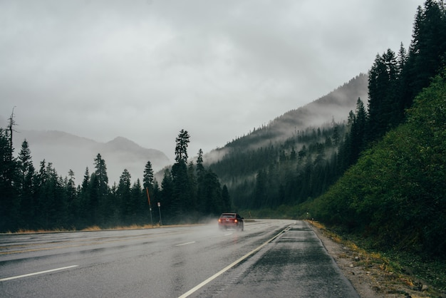 The car is driving on a foggy road