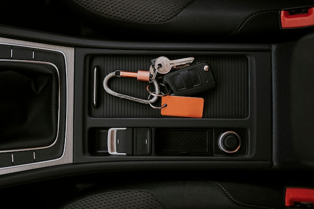 Car key in a center console space