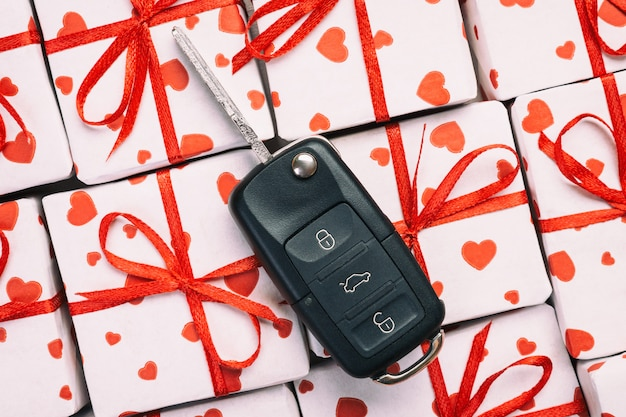 Car key on gift boxes for valentine's day