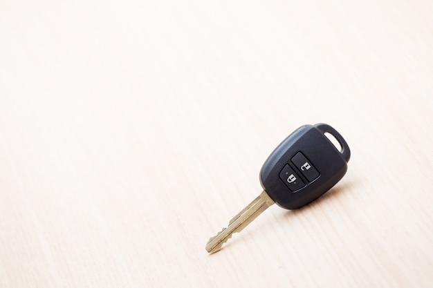 Car key on table